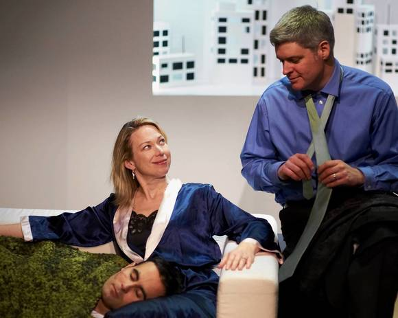 Michael Salinas, Kendra Thulin and Peter Moore at Steep Theatre.