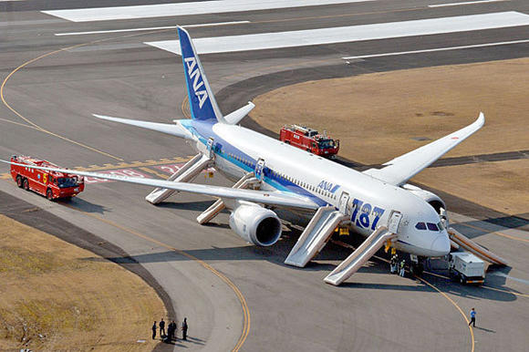 Nippon Airways flight at Takamatsu airport in Japan after emergency landing