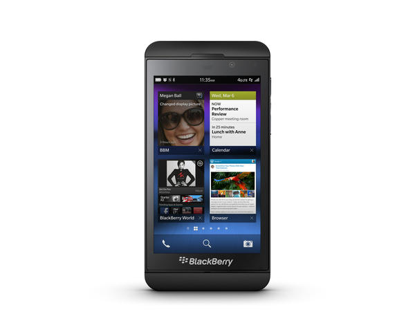 The new BlackBerry Z10 touch screen smartphone.