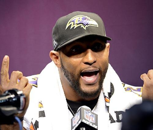 Baltimore Ravens inside linebacker Ray Lewis gestures while being interviewed during media day in preparation for Super Bowl XLVII.
