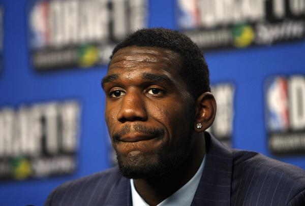 Greg Oden, shown in 2007 after being selected No. 1 overall by the Portland Trail Blazers, has not played since 2009 due to knee injuries.