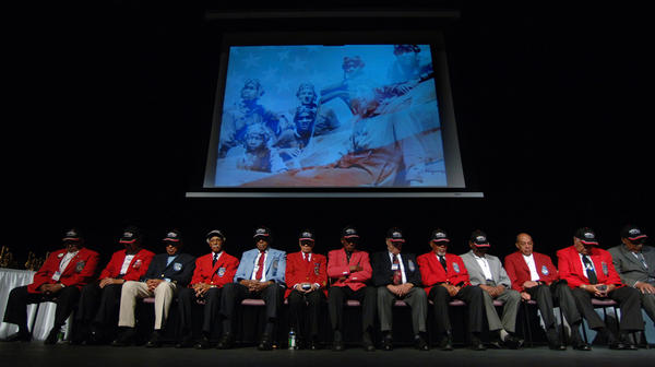 Retired members of the Tuskegee Airmen, the first black pilots in WWII, are honored at a ceremony held at the African American Research Library in Fort Lauderdale.