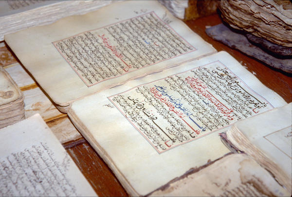 Ancient manuscripts displayed at the library in the city of Timbuktu in 1997.