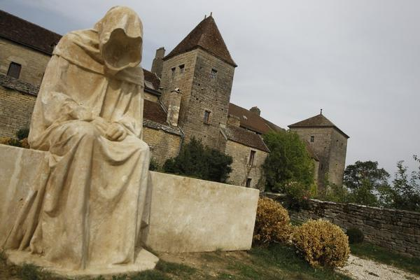A statue outside the castle at Gevrey-Chambertin near Dijon, France.