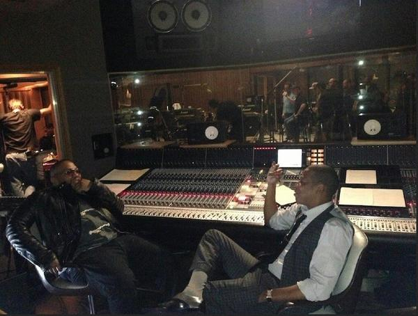 Jay-Z's Roc Nation will now manage hitmaker Timbaland, here lounging in the studio with Jay-Z.