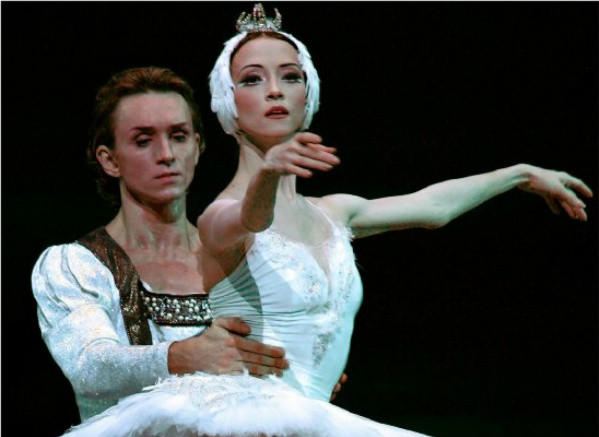 "Bolshoi dancer Svetlana Lunkina, with Dmitri Gudanov, during a rehearsal of ""Swan Lake"" at the Royal Opera House in London in 2006."