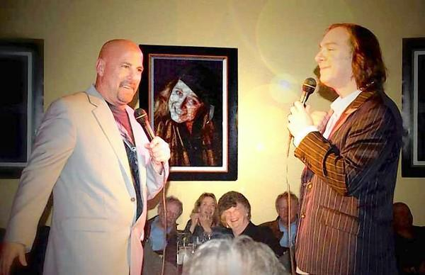 Business partners and comedians Bob Perkell and Jeff Capri entertain the crowd at the Surf City Comedy Club.