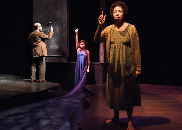 "Doug Tompos, PaSean Wilson and Angela Bullock ""Cassiopeia"" at the Boston Court Performing Arts Center."