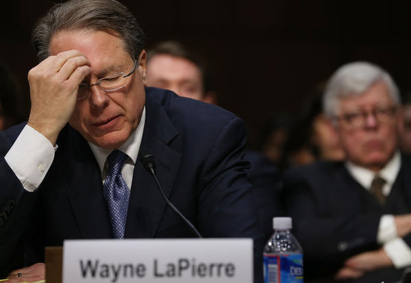 Wayne LaPierre, executive vice president and chief executive of the National Rifle Assn. testifies during a Senate Judiciary Committee hearing on gun violence.