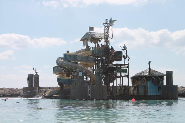 The fun never ends in this 2,400-square-foot floating platform and water-play area on Disney's private island, Castaway Cay, in the Bahamas.
