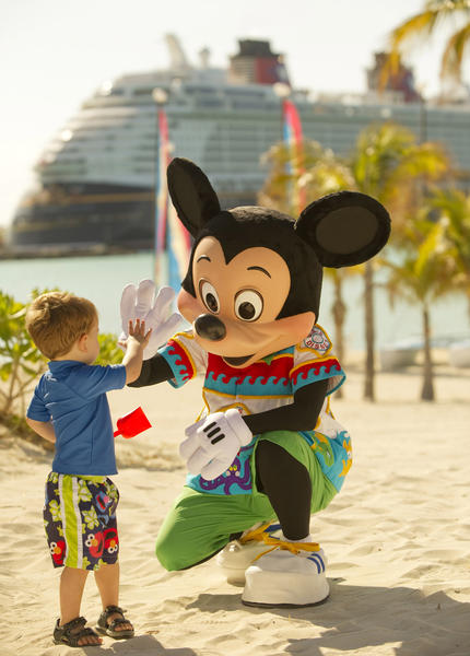 Guests can spot favorite friends like Mickey Mouse on Castaway Cay, Disney¿s private island paradise in the Bahamas. These character sightings create lasting memories and fantastic photo opportunities for guests of all ages!