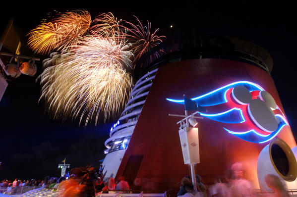 As part of the Pirates IN the Caribbean deck party, Disney Cruise Line guests enjoy awe-inspiring fireworks on the high seas. This pirates and pyrotechnic show ¿ as only Disney can do ¿ is the only fireworks display aboard a cruise ship. The Pirates IN the Caribbean deck party and fireworks display is part of every Disney Cruise Line sailing.
