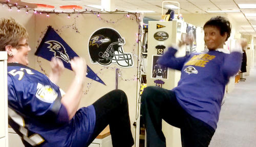 Donna Miller and Arden Stara do the Ray Lewis signature dance.