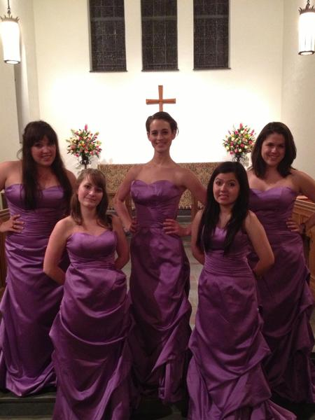 "From left to right: Krista DeLong (Meredith), Toni Carpenter (Frances), Janae Riha (Trisha), Lina Ortiz (Mindy) and Lauren Culver (Georgeanne) star in ""Five Women Wearing the Same Dress."""