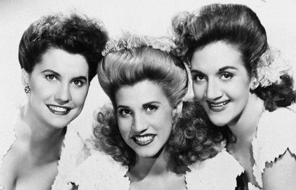 Patty Andrews, center, the last surviving member of the Andrews Sisters, who entertained Americans during World War II, has died. She was 94. She is shown here in 1947 with sisters Maxene Andrews, left, and LaVerne Andrews.