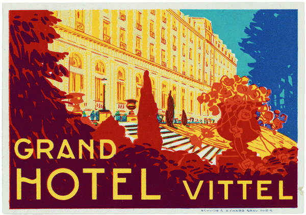 "Sticker from the Grand Hotel, Vittel, France, circa 1920, one of many vintage labels featured in the new book ""World Tour"" by Francisca Mattoli."