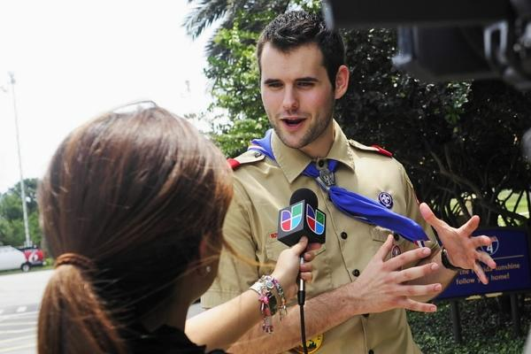 Eagle Scout Zach Wahls, 20, of Iowa City talks after delivering a 280,000-signature petition to the Boy Scouts of America's annual meeting in Orlando on May 30. Wahls, the son of gay parents, is pressing Scouting to change its policies towards homosexuality.