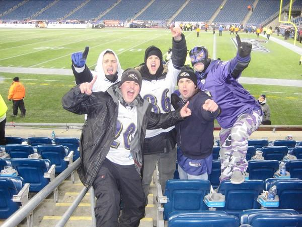 Following the Baltimore Ravens win in the AFC Championship game over the New England Patriots, (clockwise from top left) Mike Bisson, Arin Foreman, Bobby Bisson, Alex Kapinos and Colin Kendall celebrate in the stands at Gillette Stadium. Mike and Bobby Bisson, both Ellicott City residents, are heading to New Orleans for the Super Bowl.