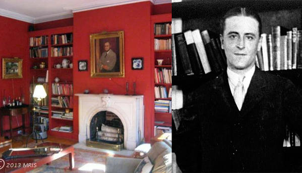 F. Scott Fitzgerald and the interior of his Baltimore town house.