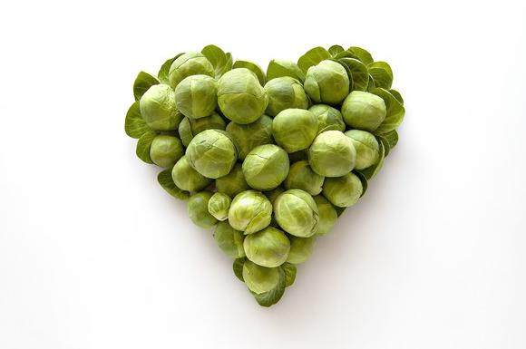 Heart-shaped formed by fresh Brussel Sprouts
