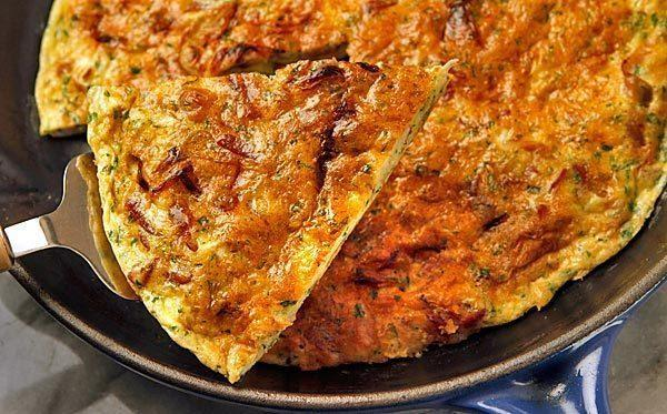 Prosciutto and onion frittata.