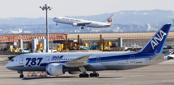 The 787 has been grounded since Jan. 16 by the Federal Aviation Administration because of problems with onboard lithium-ion batteries. Above, an All Nippon Airways 787 parks on the tarmac at Haneda Airport in Tokyo.