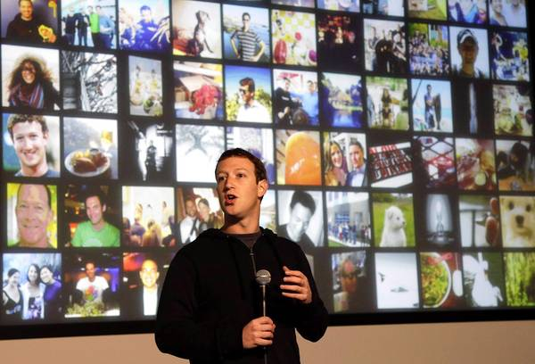Facebook's mobile ad sales rose. Above, CEO Mark Zuckerberg speaks at the company this month.