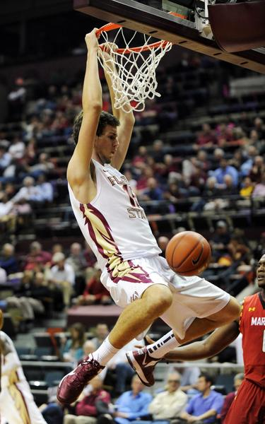 Florida State Seminoles center Boris Bojanovsky (15) dunks the ball during the first half of the game against the Maryland Terrapins at the Donald L. Tucker Center.