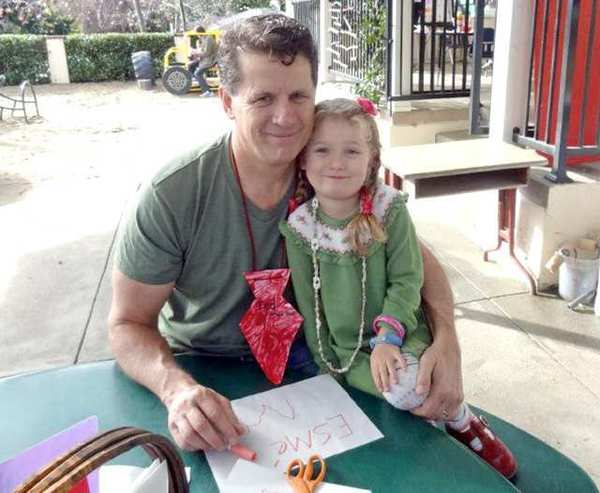Ted Woerner and his daughter Esme spend time together at Dads Day at the La Cañada Flintridge Community Center Preschool.