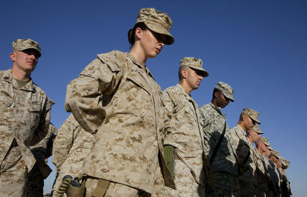 The chairman of the Joint Chiefs of Staff recommended that women be allowed to serve in combat roles. Above, Marines in Afghanistan in 2010.