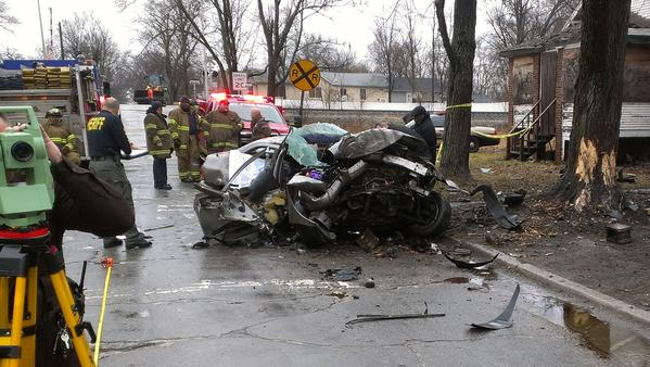 Scene of the crash on the 4000 block of Monroe Street in Gary on Wednesday.