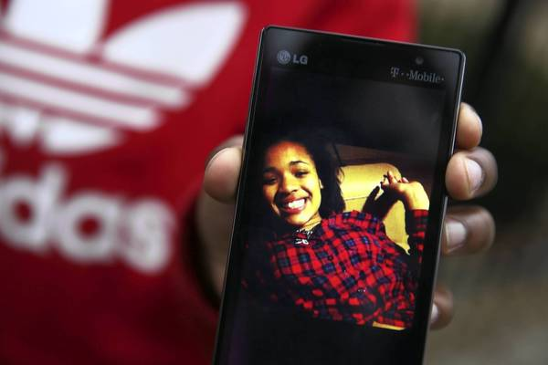 Hadiya Pendleton beams in a photo on her 11-year-old cousin Jahlil Pettis' cellphone. Hadiya, 15, was shot and killed Tuesday.
