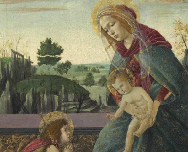 """A detail from the Botticelli painting """"Madonna and Child with Young Saint John the Baptist."""" The work sold for $10.4 million at a Christie's auction in New York on Wednesday."""