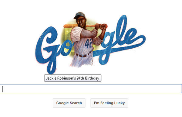 Google's doodle of Jackie Robinson