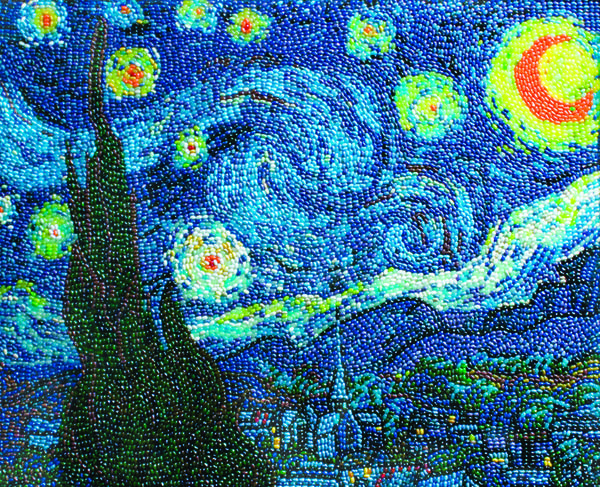 A new exhibition, 'Jelly Belly Masterpieces,' at the Reading Public Museum includes a rendering of Vincent Van Gogh's 'Starry Night' made from jelly beans.