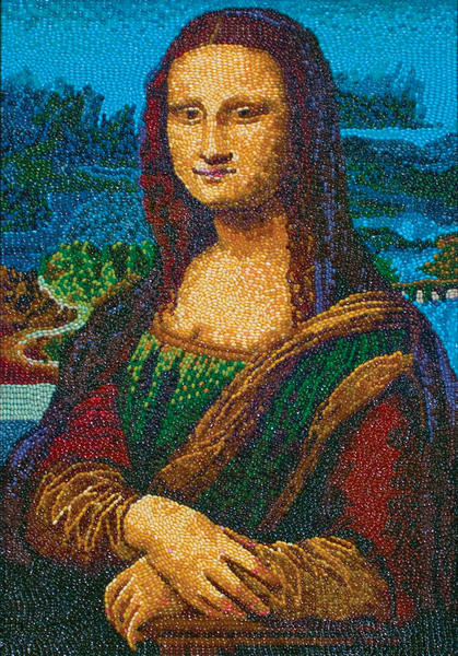A new exhibition, Jelly Belly Masterpieces of Jelly Bean Art, that opens at the Reading Public Museum on Saturday, January 26, includes jelly bean takes on Leonardo Da Vinic's Mona Lisa and Vincet Van Gogh's Starry Night.
