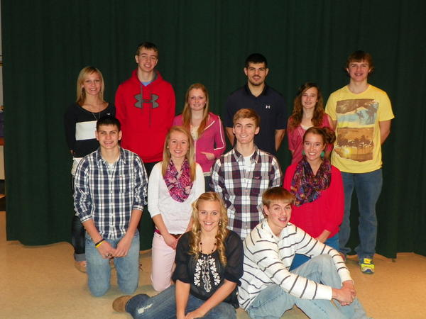 The 2013 Boyne Falls High School homecoming court is made up of (front row, from left) ninth-grade representatives, Kurstin Wilson and Marcus Matelski; (center) 10th-grade representatives, Andrew Stevens and Kaylee Herman; 11th-grade representatives, Brendon Matelski and Emily Matelski; (back row) senior king and queen candidates, Kaylee Wilson, William Miller, Melody Ann Harmon, Max Reed, Kiersten Bielas, Crosby Boettger and (not pictured) Kaitlin Matelski.