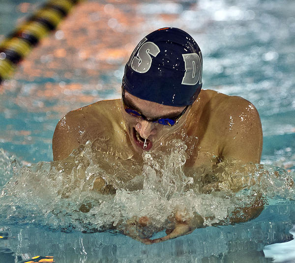 Danville¿s Chappie Couzens swims to a win in the 200-yard individual medley Wednesday in a dual meet with Boyle County. Couzens also won the 100 backstroke and was part of the winning 400 freestyle relay in his final home meet for the Admirals.