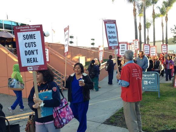 Glendale Memorial Hospital employees protested planned layoffs at the facility Thursday, Jan. 31, 2013.
