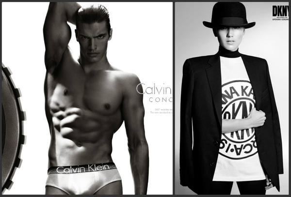 At left, model Matthew Terry in an image from the Calvin Klein underwear ad set to air during the Super Bowl. At right, a look from the DKNY for Opening Ceremony collection that debuts Friday.
