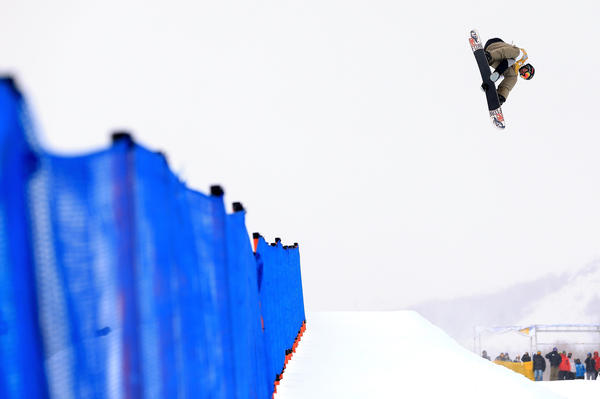 Scotty Lago competes in the semi finals of the FIS Snowboard Halfpipe World Cup at the Sprint U.S. Grand Prix at Park City Mountain on January 30, 2013 in Park City, Utah.