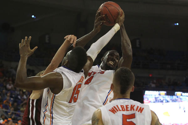 Florida Gators center Patric Young (4) grabs a rebounds against the South Carolina Gamecocks during the second half at the Stephen C. O'Connell Center. Florida Gators defeated the South Carolina Gamecocks 75-36.