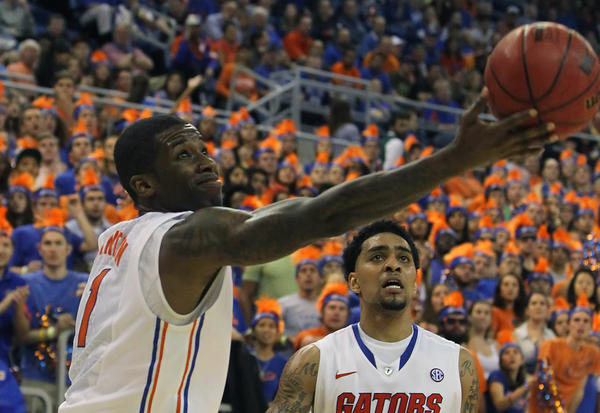 Florida Gators guard Kenny Boynton (1) drives to the basket as he is fouled against the South Carolina Gamecocks during the first half at the Stephen C. O'Connell Center.