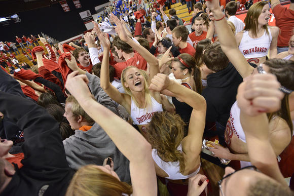 USD celebrates its victory over SDSU earlier this month in Vermillion.