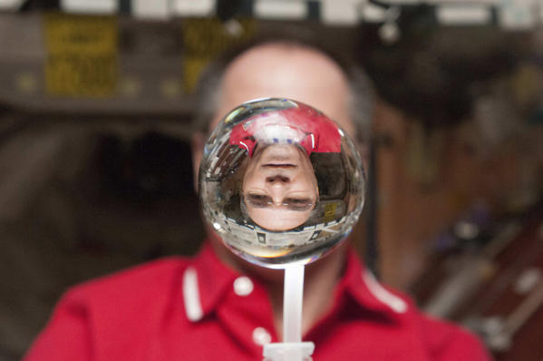 NASA astronaut Kevin Ford, Expedition 34 commander, watches a water bubble float freely between him and the camera, showing his image refracted, in the Unity node of the International Space Station