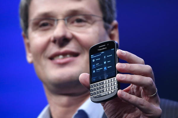 Research in Motion (RIM) President and Chief Executive Officer Thorsten Heins introduces a new RIM Blackberry 10 device during their launch in New York