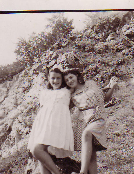 Rena Margulies Chernoff is seen with her cousin Frieda Tenenbaum at a Displaced Person's camp in Heidenheim, Germany on September 28, 1946.