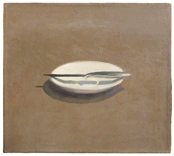 "Los Angeles Modern Auctions will offer Vija Celmins' ""Untitled (Knife and Dish)"" from 1964, estimated at $300,000 to $500,000, in a May 19 sale."
