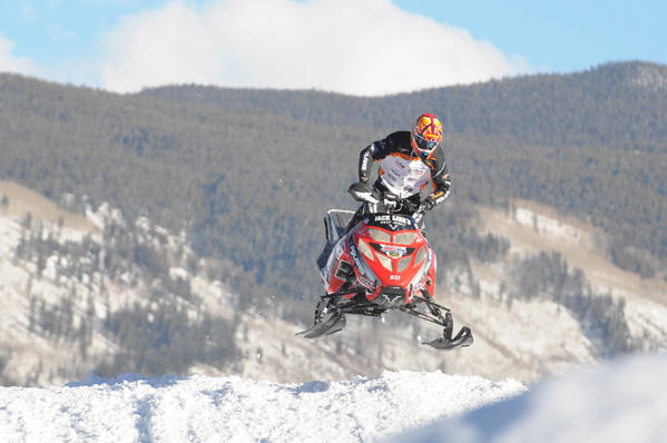 Ross Martin (USA) in the Snowmobile SnoCross during the Winter X Games. Caleb Moore, another competitor, died Thursday morning in a Colorado hospital a week after his snowmobile crashed during an event.