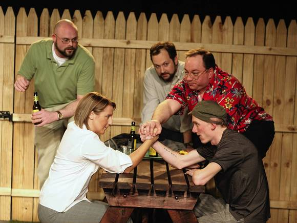 Colby Sellers (Martin), Anne Sheridan Smith (Patricia), Joe Stearns (Palmer), Jon Steinhagen (Lou), and Bries Vannon (Scott) in Signal Ensemble Theatre's production.